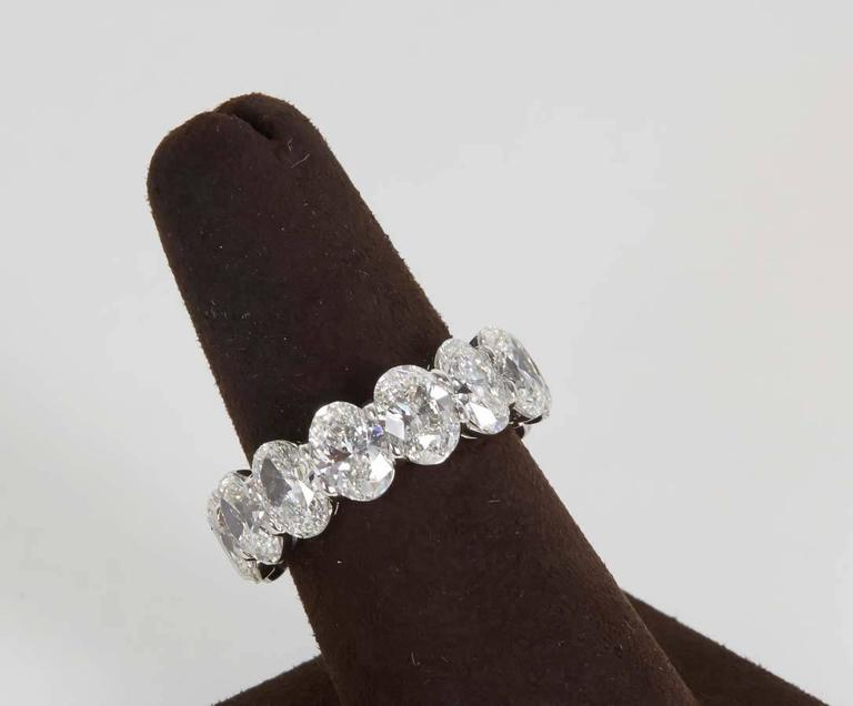 11 Carat Oval Diamond Platinum Eternity Band Ring For Sale 1