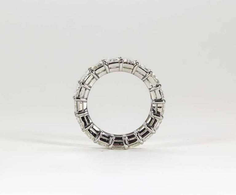 Women's 14 Carat Emerald Cut Diamond Platinum Eternity Band Ring For Sale