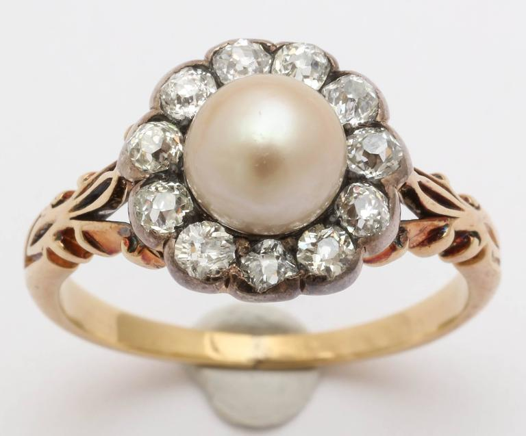 Late Victorian Pearl, Diamond Cluster Ring 2