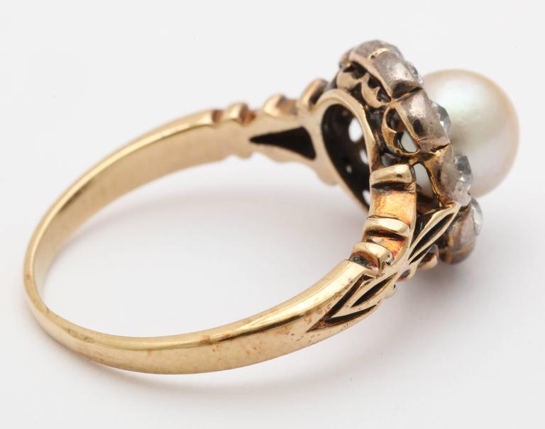 Late Victorian Pearl, Diamond Cluster Ring 4