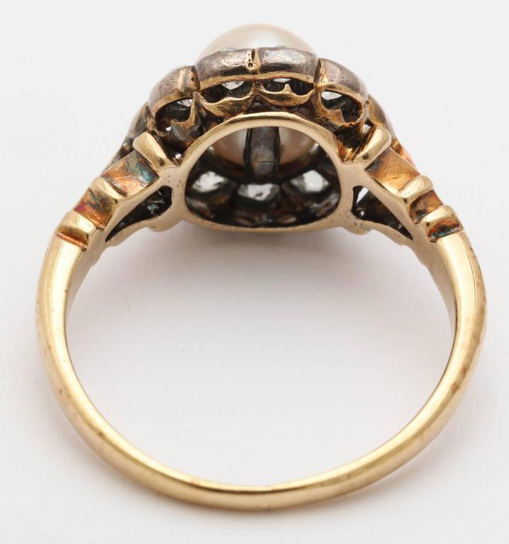 Late Victorian Pearl, Diamond Cluster Ring 5