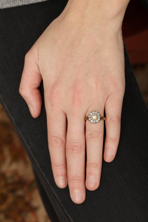 Late Victorian Pearl, Diamond Cluster Ring 6