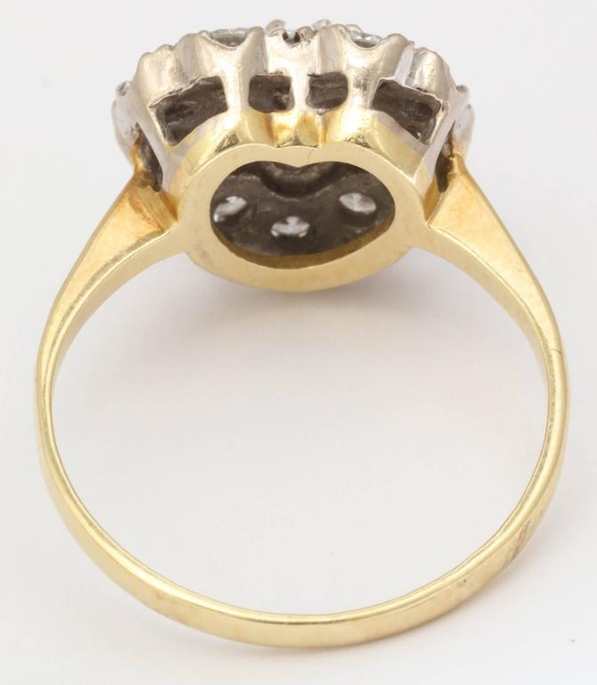 Old European Cut 18 kt Transitional and European Diamond Heart Ring For Sale