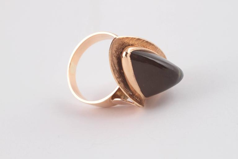 Mid-Century Modern Tiger's Eye Gold Ring For Sale 3