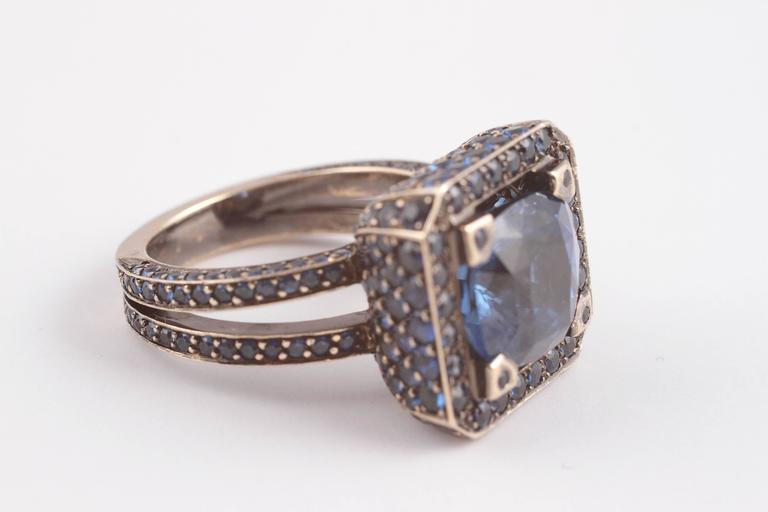 """Solange 6.00 ct Blue Sapphire Gold """"Cup"""" Ring 2"""