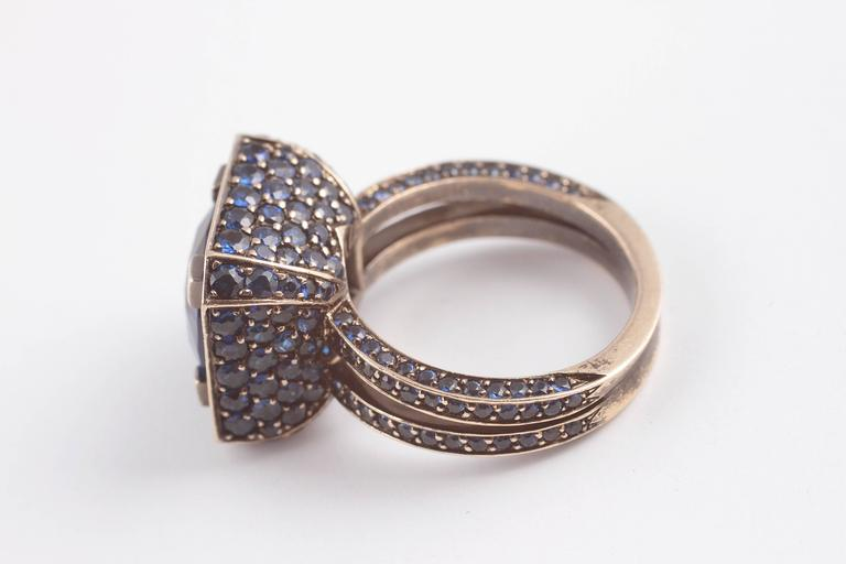 """Solange 6.00 ct Blue Sapphire Gold """"Cup"""" Ring 6"""