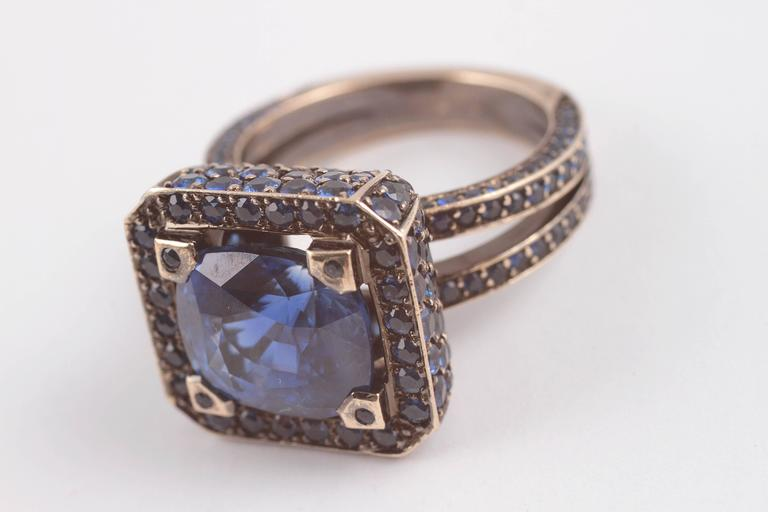 """Solange 6.00 ct Blue Sapphire Gold """"Cup"""" Ring 8"""