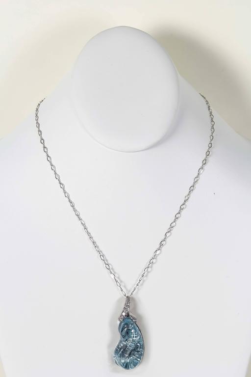 Naomi Sarna Aquamarine Diamond Gold Pendant For Sale 2