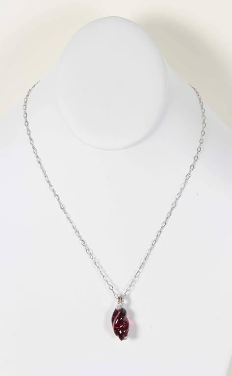 Women's Naomi Sarna Rhodolite Garnet Diamond Gold Pendant For Sale