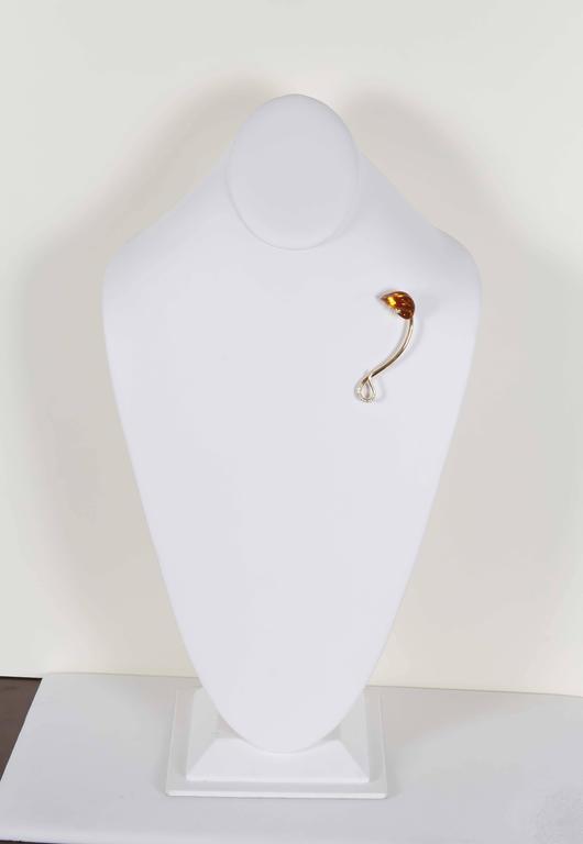 Naomi Sarna Citrine Diamond Gold Brooch For Sale 2