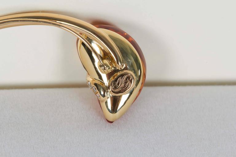 Naomi Sarna Citrine Diamond Gold Brooch In New Condition For Sale In New York, NY