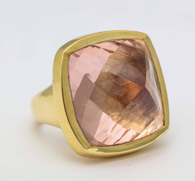Contemporary Rebecca Koven Morganite Gold Pyramid Ring For Sale