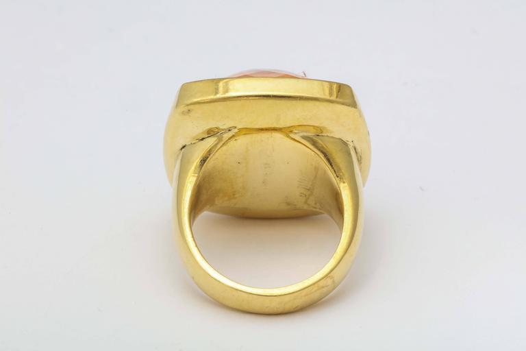Women's Rebecca Koven Morganite Gold Pyramid Ring For Sale
