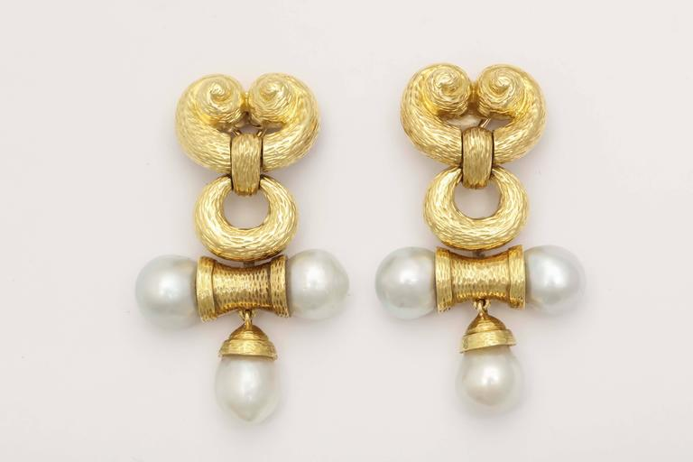 Massive Pearl Gold Drop Earrings 2