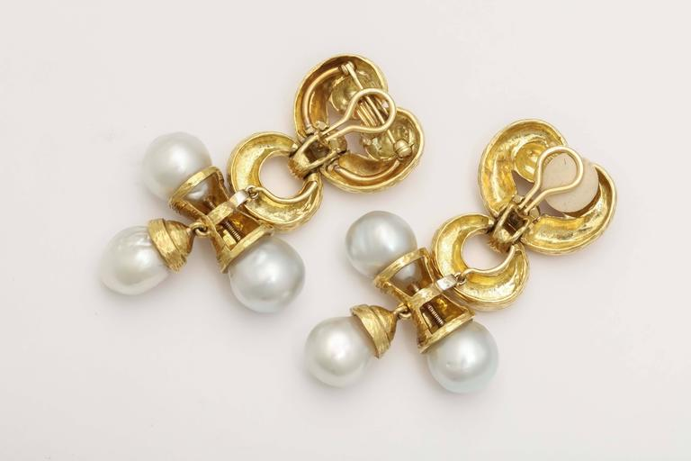 Massive Pearl Gold Drop Earrings 4