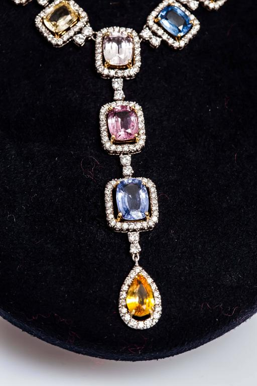 Beautiful Multi-color Sapphire and Diamonds Necklace In As New Condition For Sale In New York, NY