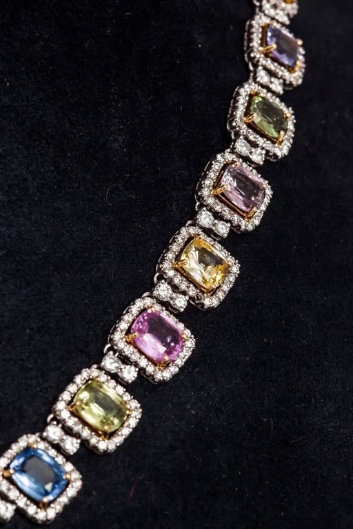 Women's Beautiful Multi-color Sapphire and Diamonds Necklace For Sale