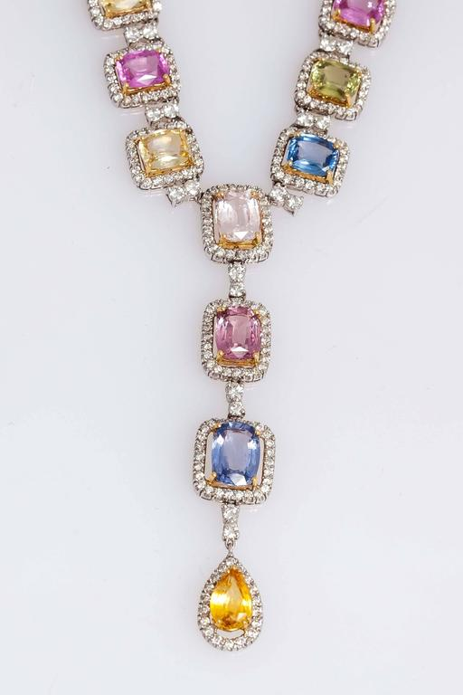 Beautiful Multi-color Sapphire and Diamonds Necklace For Sale 1