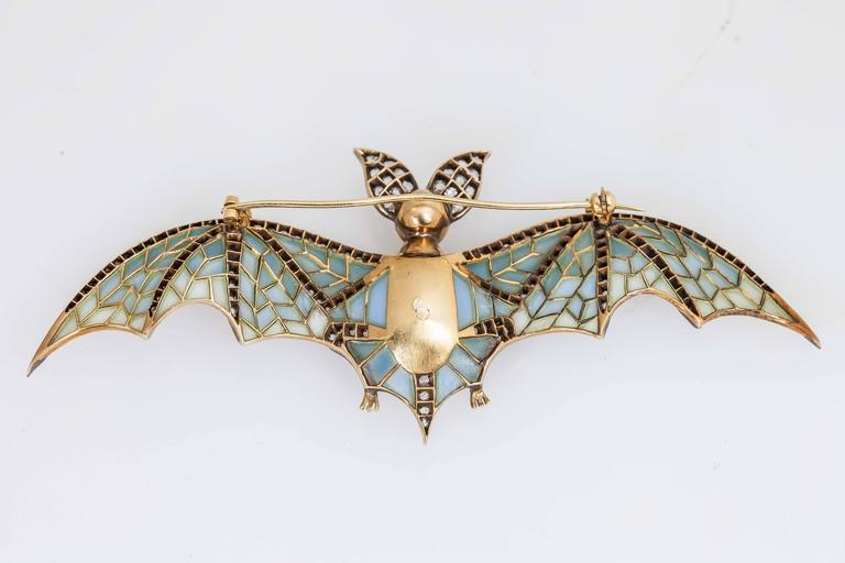 Women's or Men's Plique a Jour Pearl Ruby Diamond Silver Gold Bat Pin For Sale