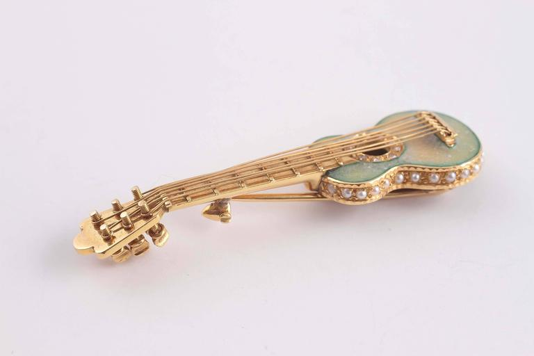 Early 20th Century Enamel Seed Pearl Gold Guitar Pin 2