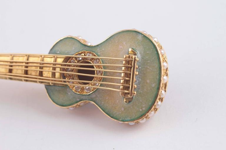 Early 20th Century Enamel Seed Pearl Gold Guitar Pin 7