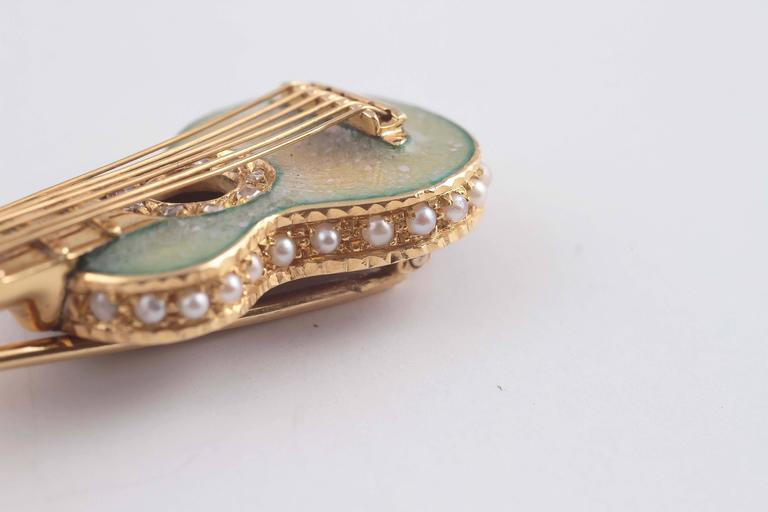 Early 20th Century Enamel Seed Pearl Gold Guitar Pin 8