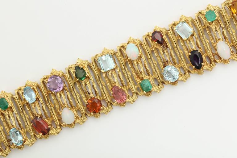 1960s H Stern Multi Colored Gemstone Gold Flexible