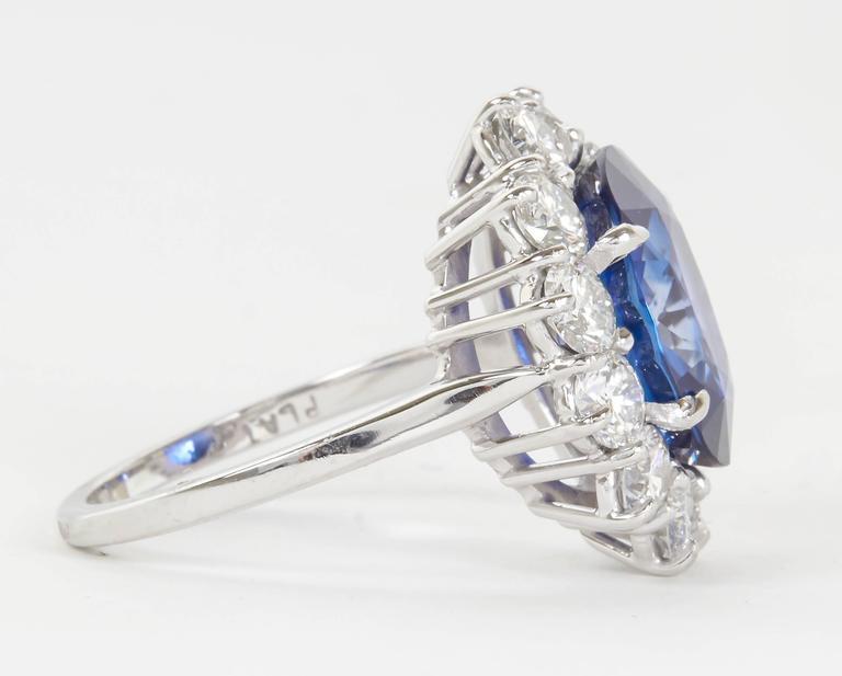 Women's Stunning 6 Carat GIA Certified Sapphire Diamond Platinum Ring For Sale