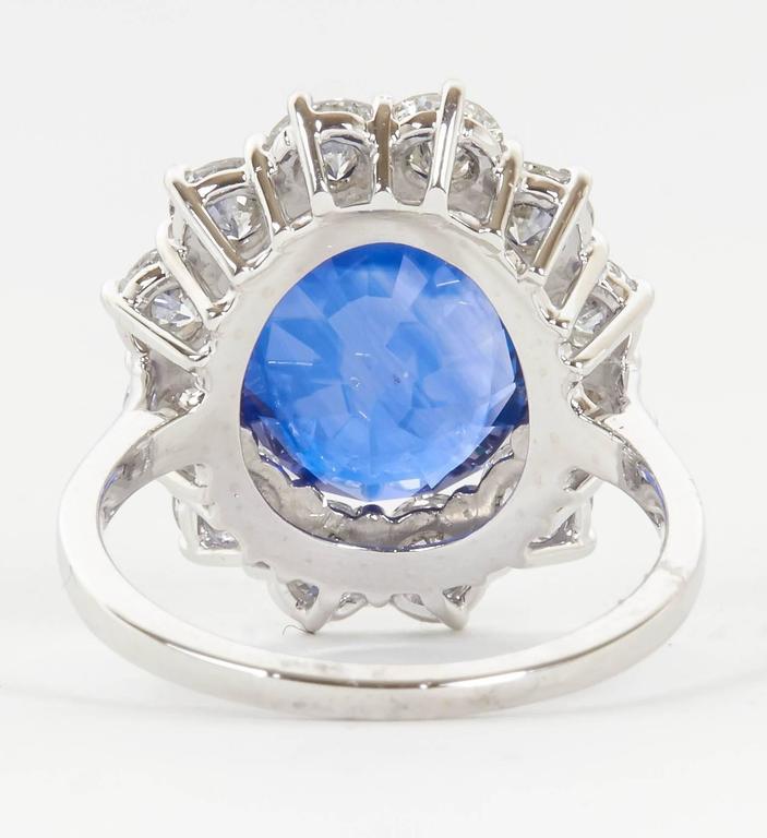 Stunning 6 Carat GIA Certified Sapphire Diamond Platinum Ring For Sale 1