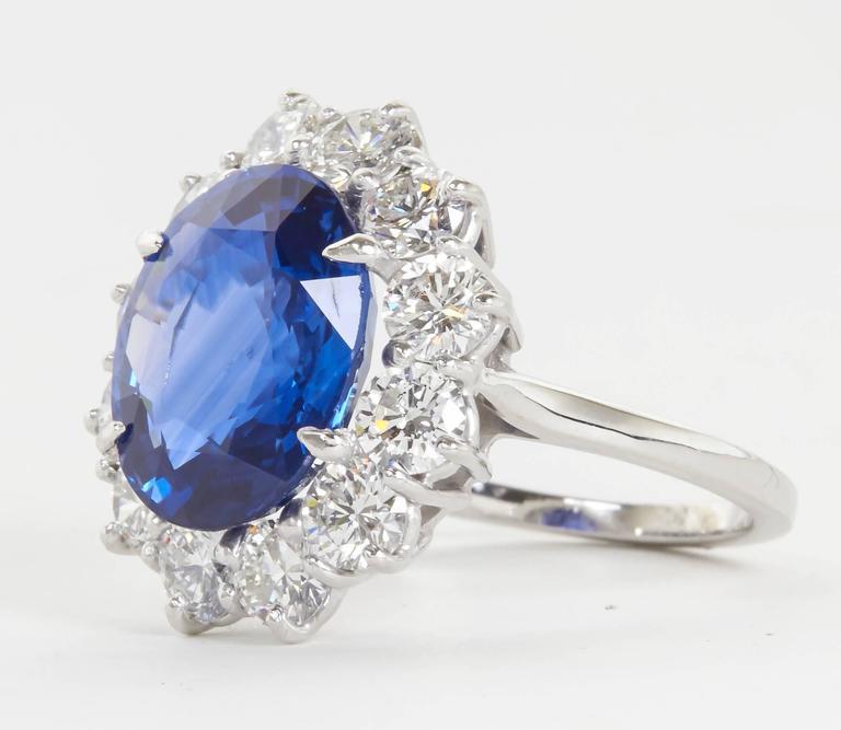 Stunning 6 Carat GIA Certified Sapphire Diamond Platinum Ring For Sale 2