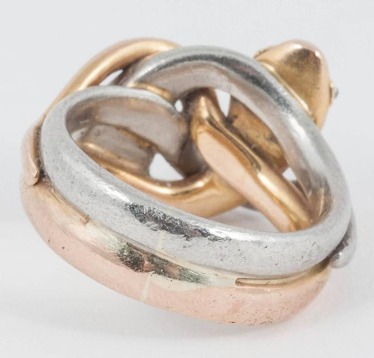 Double Gold Platinum: Tiffany And Co. Gold Platinum Double Snake Ring For Sale