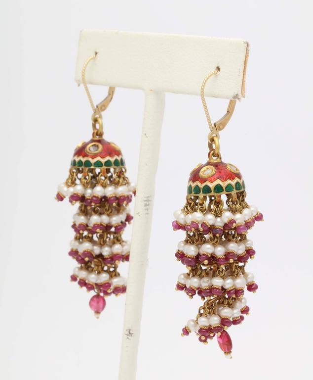 Exotic Enamel and Ruby Indian Tassle Earrings 2