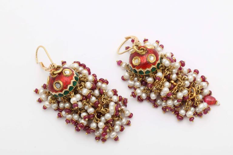 Exotic Enamel and Ruby Indian Tassle Earrings 3