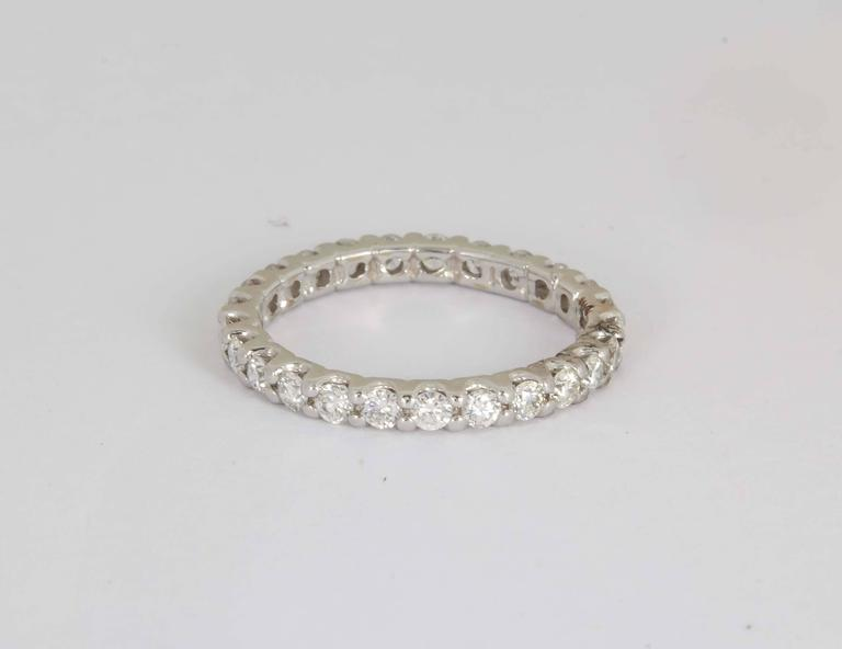 Contemporary Diamond Gold Eternity Band Ring 1.00 Carat/ U Setting For Sale