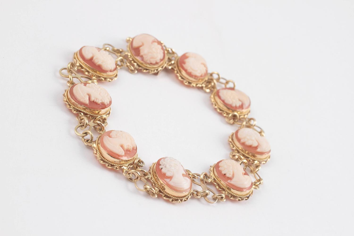 Italian Cameo Gold Bracelet For Sale At 1stdibs