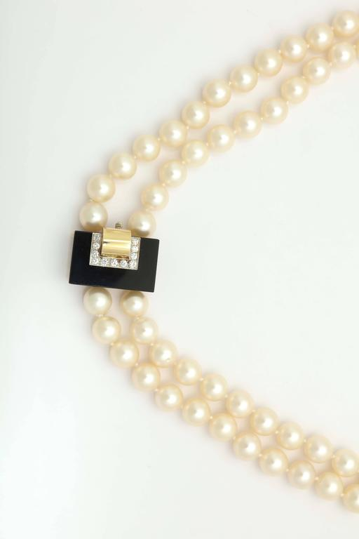 1970s Cartier Pearl Onyx Diamond Gold Platinum Necklace Bracelet Suite For Sale 1