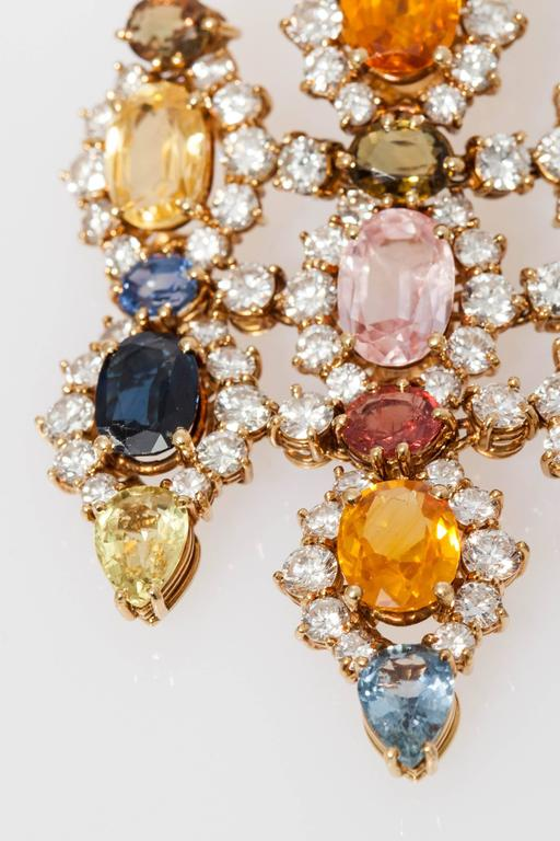 1960s Multicolor Natural Sapphire Diamond Gold Chandelier Ear Pendants  For Sale 5