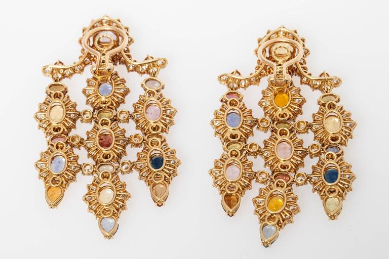 1960s Multicolor Natural Sapphire Diamond Gold Chandelier Ear Pendants  For Sale 6