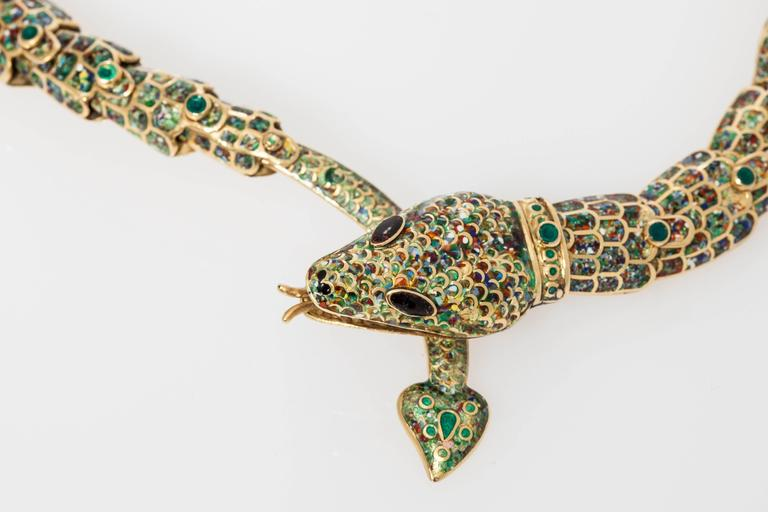 1950s Mexican Enamel Gold Snake Set  In Excellent Condition For Sale In New York, NY