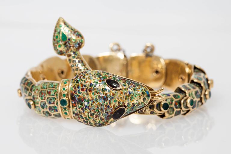 1950s Mexican Enamel Gold Snake Set  For Sale 2