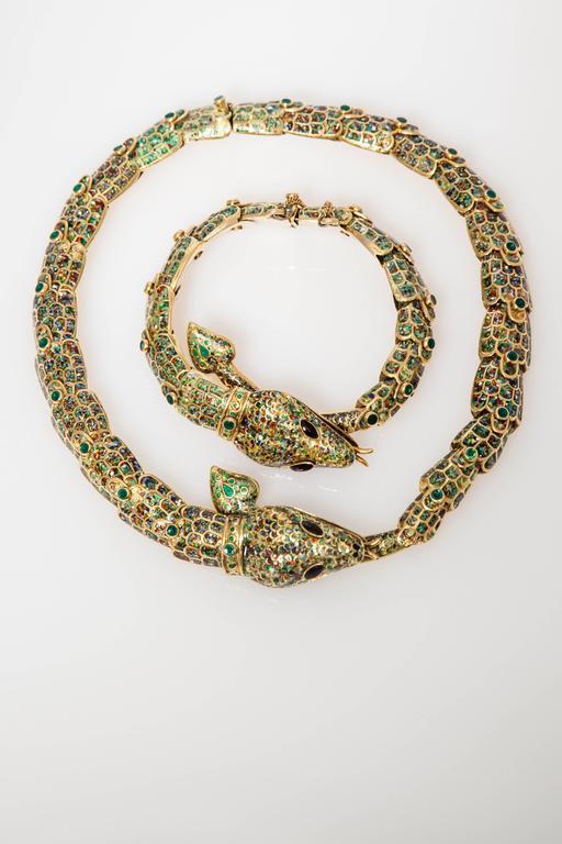 1950s Mexican Enamel Gold Snake Set  For Sale 3
