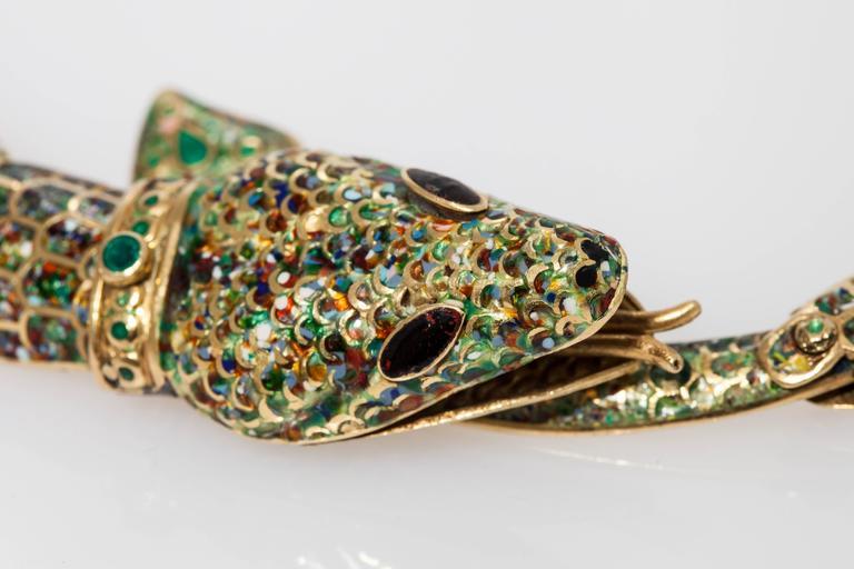 1950s Mexican Enamel Gold Snake Set  For Sale 5