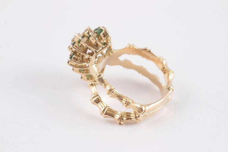Emerald Diamond Gold Bamboo Style Ring In Excellent Condition For Sale In Dallas, TX