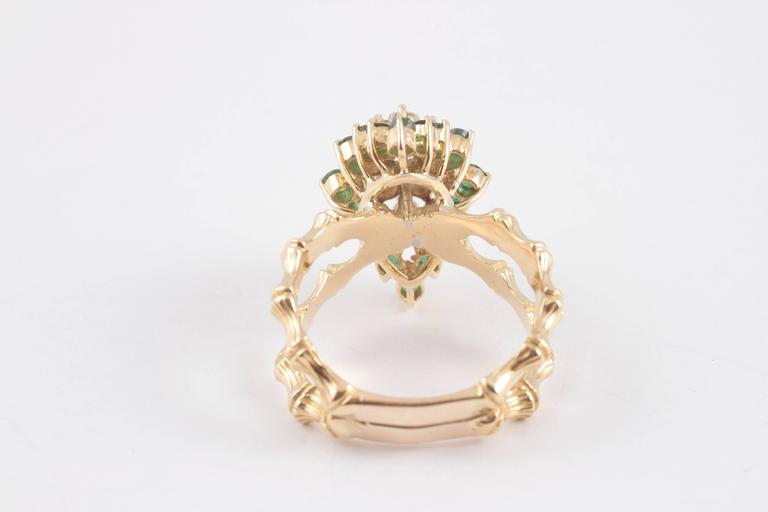 Women's Emerald Diamond Gold Bamboo Style Ring For Sale
