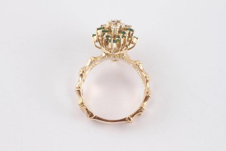 Emerald Diamond Gold Bamboo Style Ring For Sale 1
