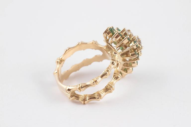 Emerald Diamond Gold Bamboo Style Ring For Sale 2