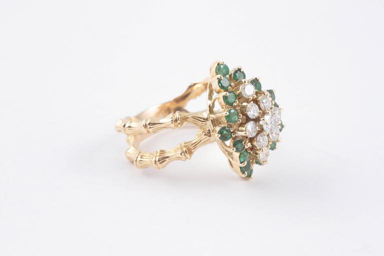 Emerald Diamond Gold Bamboo Style Ring For Sale 3