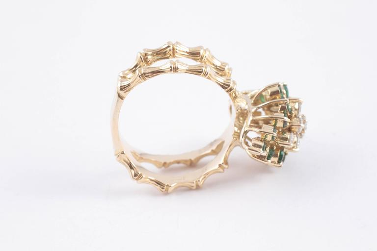 Emerald Diamond Gold Bamboo Style Ring For Sale 4