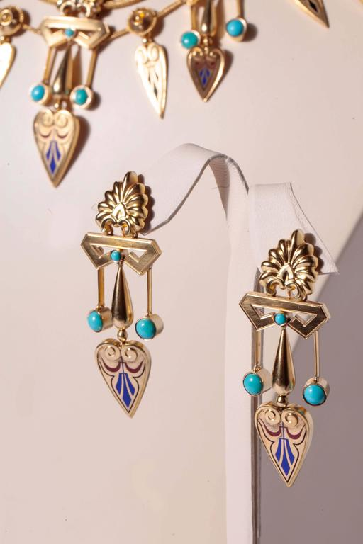 Antique French Egyptian Revival Enamel Turquoise Gold Necklace and Earrings 6