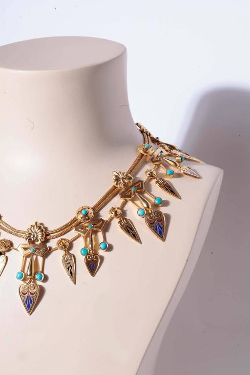 Antique French Egyptian Revival Enamel Turquoise Gold Necklace and Earrings 7
